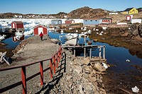 Colorful Fishing Stages and buildings in Durrell, Twillingate, Newfoundland, Canada.