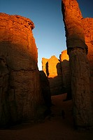 Narrow pass. El Ghessour. Tassili Ahaggar. Sahara desert. Algeria.