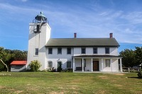 Horton Point Lighthouse, built in 1857, Southold, New York, Long Island, United States, North America.