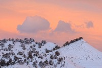 Sunset skies with fresh winter snow, Tropic, Kodachrome State Park, Utah, USA.