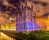 Houses of Parliament Thames River Westminster Bridge Night Westminster London England. Named after the Bell in the Tower. Has kept exact time since 18...