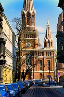 Jesuits Church of the Most Holy Name of Jesus seen from Roosevelta street, Lodz, Poland, Europe