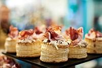 Pintxos, Iberian Ham, Bilbao, Biscay, Basque Country, Spain, Europe