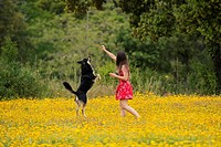 Girl with a red dress playing with a dog in a yellow field.