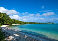 Turquoise water and white sand on a beach, Shefa Province, Efate island, Vanuatu.