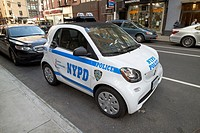 nypd police smart fortwo patrol vehicle New York City USA.