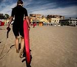 Surfer on the beach, Alboraya, Spain