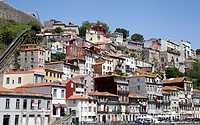 Homes along River Douro in Porto - Portugal.