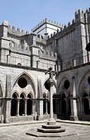 Courtyard and Gothic Cloisters at Sé Cathderal in Porto - Portugal.