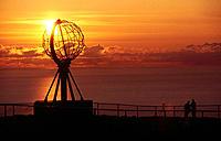 North Cape, midnight sun. Mageroya island. Norway