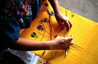 Woman weaving. San Antonio Aguas Calientes. Antigua Guatemala