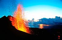 Volcano Piton de la Fournaise, 1998 eruption. Reunion Island