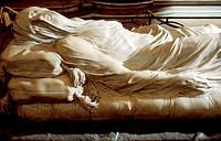 Veiled Christ (1753) sculpture by Giuseppe Sammartino at interior of Cappella Sansevero de Sangri (decorated 1749-66). Naples. Italy