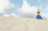 woman on sand dune