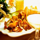 Grilled clams. Restaurant Etxebarri, Axpe, Basque Country. Spain
