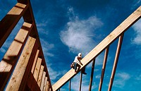 Carpenter making rafters. Grass Valley. California. USA.