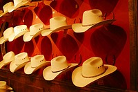 Display of straw Stetson cowboy hats in a Western store in Dallas, Texas