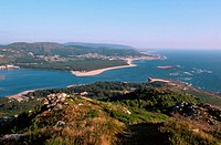 Miño River estuary and Portugal at background. A guarda village. Pontevedra Province. Galicia. Spain