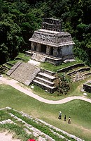 Temple of the Sun from the Group of the Temples of the Cross, Palenque, Mayan archaeology, pre-Hispanic pyramid architecture of Latin America, Chiapas...