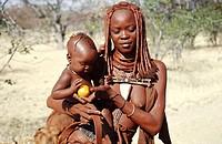 Himbas. Kunene river. Namibia.