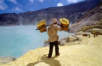Miner with heavy load of yellow elemental sulphur collected from within the active crater of Volcano Ijen, eastern Java, Indonesia
