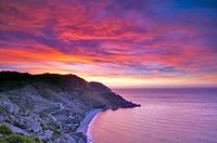 Maro-Cerro Gordo cliffs at sunset. Málaga province, Andalusia, Spain