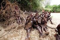 Girl Hamer tribe. Lower basin of Omo River Gathering before the fest of the whipping ceremony and the bull jumping. South Ethiopia.