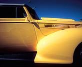 Yellow fender of hot rod car