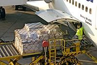Loading an aeroplane.
