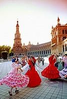Flamenco dancing. April fair. Plaza de España. Sevilla, Andalusia, Spain.