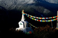 Memorial ´chorten´ (stupa) at sunrise, Shangri-La, Yunnan province, China.
