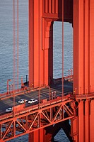 Detail of the bridge deck and tower of the Golden Gate Bridge, San Francisco, California, United States of America