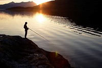 Fishing in Gratangen-Fjord, Gratangen commune, Troms, Lapland, Norway, Scandinavia, Europe. Norwegian Sea, North-Atlantic, Sub-Arctic
