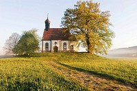 Small chapel on hill at foggy morning in spring. Franconia, Bavaria / Germany