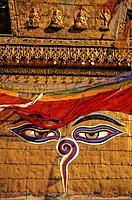 Nepal, Kathmandu, the Swayambhunath Stupa, the eyes of Buddha