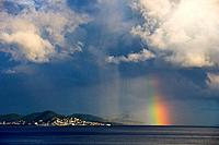 Storm clouds and rainbow over Sint Maarten, Netherland Antilles.