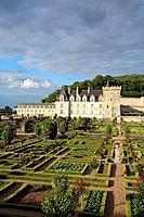 Villandry castle and gardens. Château de Villandry. Indre-et-Loire.Touraine. Loire Valley. France