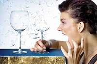 woman, scream, wine glasses, glass, shatters, side_portrait, people, Sangerin young facial expression hysteria voice, sound, chant, sings, shrilly, lo...