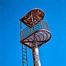 Abandoned, rusty lifeguard´s tower. Cabo de Gata. Spain