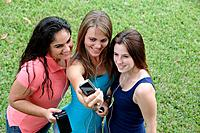 Group of teens taking a picture or themselves