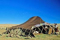 Morocco, Middle Atlas Mountains, near Ifrane, Berber tent with Berber woman