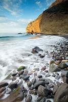 Cliffs at sunrise. Cabo de Gata-Nijar Biosphere Reserve, Almeria province, Andalucia, Spain