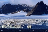 Glaciers and icebergs at the Svalbard archipelago. Spitsbergen island, Arctic Ocean, Norway