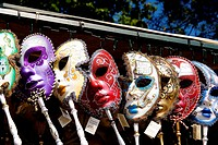 Venetian masks of carnival exposed for the sale.The masks and the disguises are basic in the Carnival of Venice, this carnival became popular in the 1...