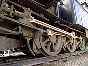 Máquina de tren expuesta como monumento a la ´VAY´, más conocido como ´tren xixarra´ y que unía a Villena_Alcoi_Yecla y Alcoi_Gandia, en la Avenida p...