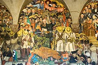 Mural painting of Diego Rivera(1886-1957) in The National Palace.Painting of Mexico history.Mexico City.