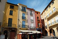 Colorful buildings. Place du 18 Juin,  Collioure, Roussillon, Oriental Pyrinees, France, Europe