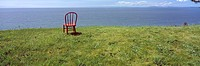 Red Chair overlooking the Strait of Juan de Fuca, Whidbey Island, Island County, Washington, U.S.A.
