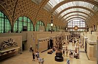 France, Paris, Musee D´Orsay art museum, main floor, clock, houses Europe´s greatest collection of Impressionist works, formerly the Orlean railway st...