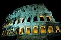 Via dei Fori Imperiali  Night view of the Colosseum in Rome  Italy